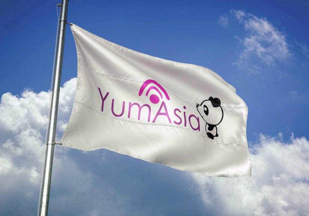 Yum Asia logo on a flag